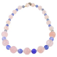 Art Deco Rose Quartz Chalcedony Beaded Necklace