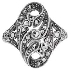 Art Nouveau Silver Marcasite Dress Ring c. 1910