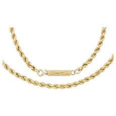 """Antique 15ct Gold Rope Necklace, 17"""" (13g)"""
