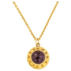 """Antique 15ct Gold Garnet Etruscan Pendant (2.9ct), with 17"""" Chain"""