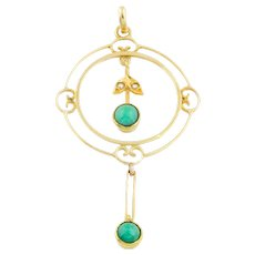 Antique 15ct Gold Turquoise Pearl Pendant
