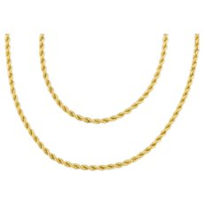 """Victorian Gold Long Rope Necklace, 58 & 1/2"""" (26g)"""