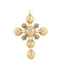 French Georgian Diamond Cross Pendant