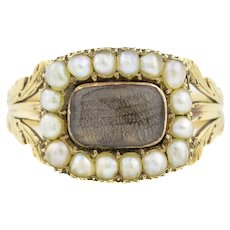 Georgian 15ct Gold Pearl Mourning Ring