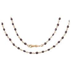 "Antique Gold Garnet Chain Necklace, 29"""