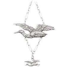 """Art Nouveau Silver Stork Necklace, 18 & 1/4"""""""