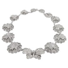 Silver Butterfly Statement Necklace, 17""