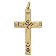 Antique 15ct Gold Black Enamel Cross Pendant
