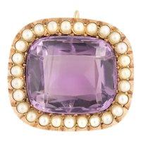 Gold Edwardian Amethyst Pearl Pendant (15.8ct)