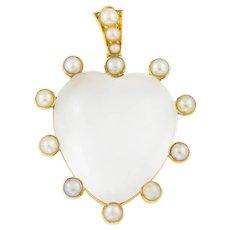 Antique 18ct Gold Rock Crystal Heart Pendant