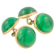 Art Deco 15ct Gold Chrysoprase Cufflinks