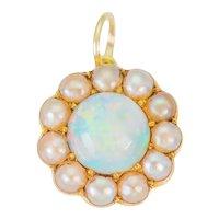 Antique 18ct Gold Opal Pearl Flower Pendant (0.76ct)