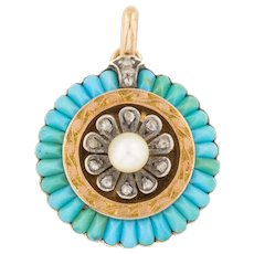 Antique 18ct Gold French Turquoise Pearl Diamond Pendant