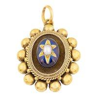 Antique 18ct Gold Blue Enamel Locket-Back Pendant