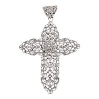 Antique French Silver Filigree Cross Pendant