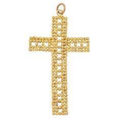 Large Georgian Gilded Steel Cross Pendant