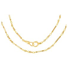 """Antique 18ct Gold Paperclip Lover's Knot Chain, 19 & 1/2"""" (15g)"""
