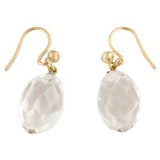 Antique Rock Crystal Earrings, with 9ct Gold Hooks