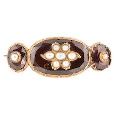 Georgian 12ct Rose Gold Garnet Pearl Brooch