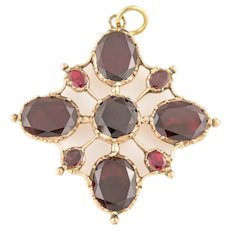 Georgian Gold Foiled Garnet Cross Pendant (8.78ct)