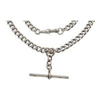 """Antique Silver Curb Link Albert Chain, 17"""""""