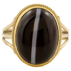 Antique 15ct Gold Banded Agate Etruscan Revival Ring