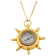 """Antique Gold Ships Wheel Compass Pendant, with 16"""" Chain"""