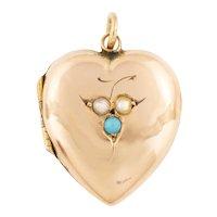 Edwardian Gold Turquoise Pearl Heart Locket, c.1903