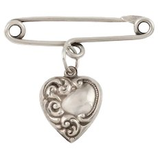 Antique Silver Stock Pin With Heart Pendant