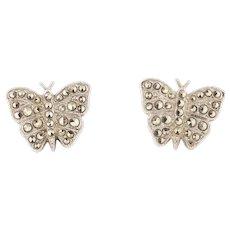 Art Deco Silver Marcasite Butterfly Earrings