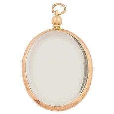 Edwardian Gold Oval Glass Locket, c.1914