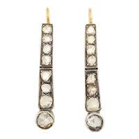 Antique 18ct Gold Silver Rose Cut Diamond Drop Earrings, (1.1ct)