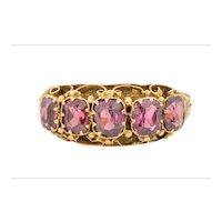 Antique 15ct Gold Garnet Five Stone Ring, (1.8ct)