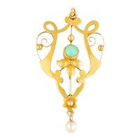 Art Nouveau Gold Turquoise Pearl Pendant
