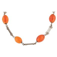 """Arts and Crafts Silver Carnelian Necklace, 17 & 1/2"""" (35.2g)"""