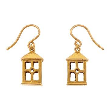 Rare Cropp & Farr Gold Lantern Earrings