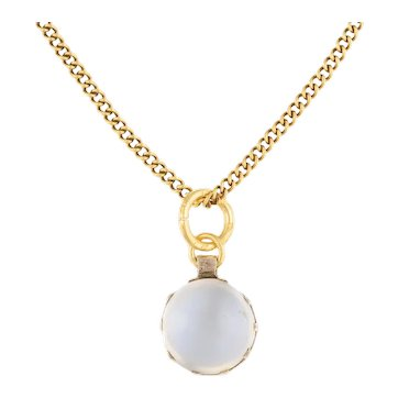 """Antique Silver Moonstone Pendant (1.90ct), with Antique 21"""" Gold Chain"""
