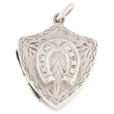 Antique Silver Shield Locket with Horseshoe Motif