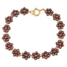 """Antique Gold Rose Cut Garnet Flower Bracelet (22.40ct), 7 & 3/4"""""""