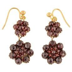 Antique Gold Garnet Cluster Drop Earrings (5.28ct)