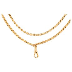 """Antique Gold Chain with Suspended Dog Clip, 26"""" (14.2g)"""