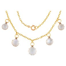 """Antique 15ct Gold Moonstone Necklace (8.51ct), 16 & 1/2"""""""