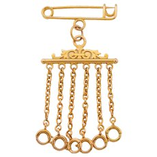 Rare Antique French 18ct Gold Stock Pin Charm Holder, (17.4g)