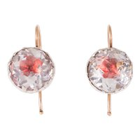 Georgian Pink Foil Paste Silver Earrings with Gold Hooks