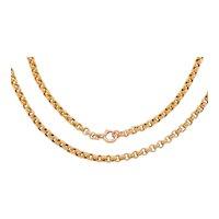 """Victorian Solid 9ct Gold Belcher Chain, 28 & 1/4"""" (13.3g)"""