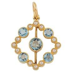 Edwardian 15ct Gold Pearl Aquamarine Pendant, (0.42ct)
