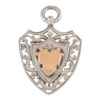 Edwardian Silver Gold Heavy Shield Fob Pendant (13.3g)