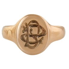"Antique 9ct Gold Gothic Monogrammed Signet Ring, ""BS"""