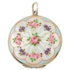 Art Nouveau Guilloché Floral Enamel Silver Locket