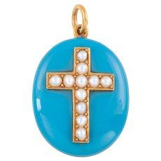 Victorian 15ct Gold Enamel Pearl Cross Mourning Locket